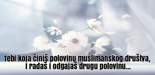 Tebi koja činiš polovinu muslimanskog društva, i rađaš i odgajaš drugu polovinu...